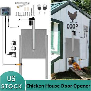 Light Sensing RUN-CHICKEN Model T40 Evening and Morning Delayed Opening Timer Full Aluminum Doors Gry Automatic Chicken Coop Door