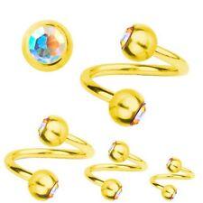 Spiral Twist Piercing GoldPlated Titanium 1,2,SWAROVSKI ELEMENTS Aurora Borealis
