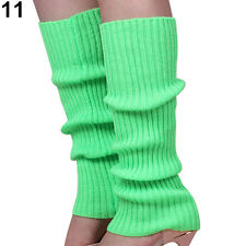LEG WARMERS Knitted Womens Neon Party Knit Ankle Fluro Dance Costume 80s Pair