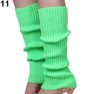 Women Knitted Leg Sock Warmers Party Neon Dance Costume Candy Color Warmer Socks