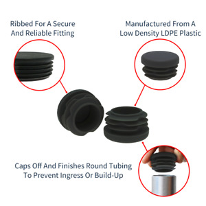 Black Round Tube Inserts, Tube End Caps, Pipe Fittings, Plastic Feet, Bungs