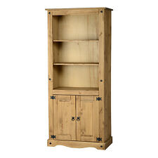 Corona 2 Door Display Unit/Bookcase Distressed Waxed Pine
