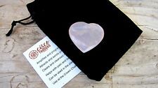 Rose Quartz Healing Crystal Heart 35mm with Black Velour Drawstring Pouch Heart