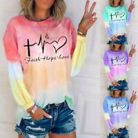 Women Crew Neck Long Sleeve Blouse Casual Tie-dye Print T Shirt Loose Tunic Tops