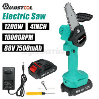 1/2Battery 1200W 4'' Chainsaw Cordless Electric Woodworking Cutting Rechargeable