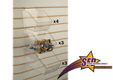 Slatwall Clear Acrylic Bin Multisize Bundle Pack - 10 Pieces