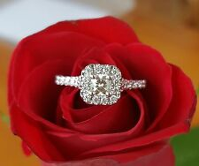 1.30Ct Princess-Cut Diamond Solitaire Halo Engagement Ring 14k white Gold Over