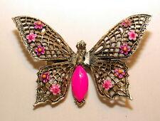 Vintage Signed ART Butterfly Pin BROOCH Pink Enamel Flowers Brass Filigree