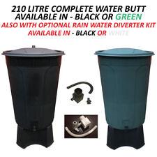 210 LITRE COMPLETE PLASTIC WATER BUTT/WATERBUTT RAIN DIVERTER TAP/STAND/LID