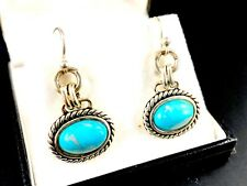 BARSE SILVER-TONE OVAL TURQUOISE STONE FRENCH WIRE PIERCED DANGLE EARRINGS