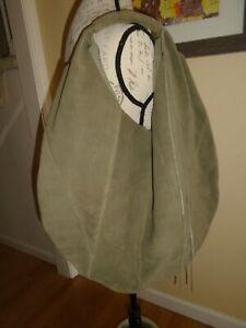 Hobo International Suede Leather Tote Olive Green Floppy Shoulder Bag NWOT
