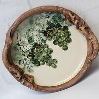 "Vintage Ellen Evans Pottery Terrafirma Green Grapes Handle Serving Bowl Dish 10"""