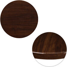 24'' Round Resin Restaurant Table Top in High-Gloss Walnut Finish