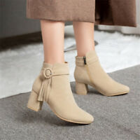 Women Ankle Buckle Boots Round Toe Block Heel Suede Shoes Fashion Tassel Booties