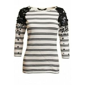 Coast Black Striped Ivory Thin Sweater with Black Sequinned Shoulders