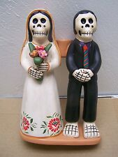 Day of the Dead Skeleton Wedding Couple Candleholder - Peru - White Bride