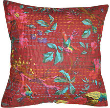 16'' Cotton Burgundy Cushion Pillow Cover Bird Kantha Embroidered Throw Indian