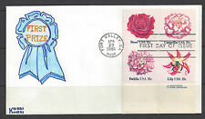 1981 Flowers Stamps, First Day Covers, Kribbs Kovers hand made, set of 5
