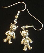 Teddy Bear Earrings 24 Karat Gold Plate Stuffed Bear