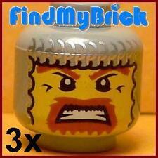 H019A Lego 3x Viking Minifigure Head with Balaclava NEW