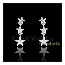 18k White Gold EP Brilliant Cut Crystal Tri - Star Stud Earrings