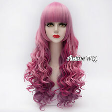 Lolita Pink Mixed Purple Long 65CM Curly Cosplay Party Heat Resistant Full Wig