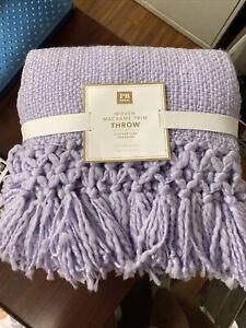 "Pottery Barn Teen Lavender Woven Macrame Trim Throw 50""x60"""