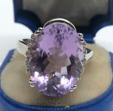 Vintage Sterling Silver Ring 925 Size 10 Signed DK Amethyst Stone CZ Large