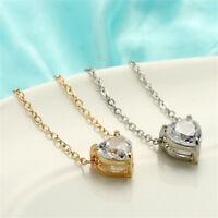 Elegant Women Clavicle Necklace Heart-Shape Rhinestone Chain Choker Jewelry Gift