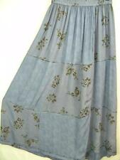 Sk191~Tienda Ho~DUSTY BLUE~Patchwork~EMBROIDERED~Rayon~FLORAL~Maxi Skirt~OS 1X?