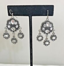 Rhinestone Chandelier Drop Earrings - Pierced Two Tone Silver Matte + Crystal