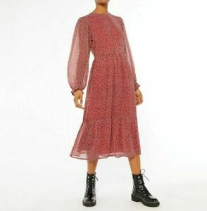 New Look Red Ditsy Floral Long Sleeve Midi Dress UK Size 10 VR291 015