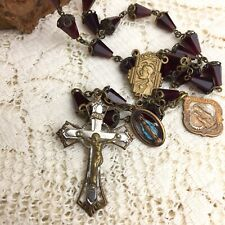 Vintage 30s Rosary Crucifix Cross Faceted Garnet Glass Filigree Victorian Gothic
