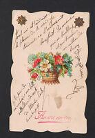 AMITIE SINCERE / PANIER de Fleurs Miosotis / AJOUTIS CHROMO début 1900