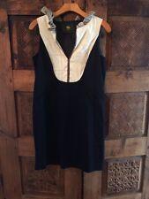 D-due Navy Bib Ruffle Sleeveless Dress Sz 40 High End Spanish Label
