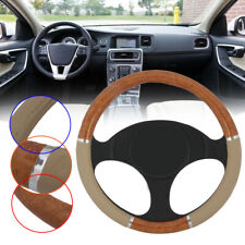 Wood Grain Steering Wheel Cover fit for Auto Car SUV Lux Grip Black Syn Leather