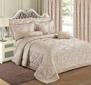 Luxury Jacquard Bedding Duvet Cover Set Bedspread Pillowsham Curtains All Sizes