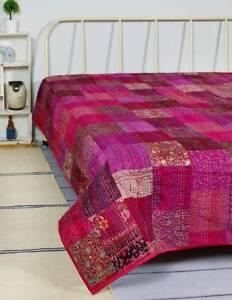 Pink Handmade Twin Size Kantha Decorate Bedspread Silk Patchwork Blanket Indian