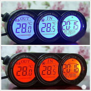 3In1 Digital TIME + Thermometer + Car Blue/Orange LED Backlight Backlight