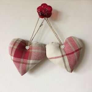 Pair Of Cushioned Heart Door Hangers in Laura Ashley Highland Check Cranberry