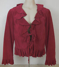 Live a Little RED Suede Jacket tie front size L ruffle collar, hem and cuffs