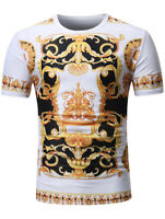 Mens Summer Top Baroque Angel Print T-Shirt Short Sleeve Cotton Casual Shirts