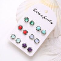 6Pairs/Set Girls Vintage Crystal Earring Jewelry Ear Studs Fashion Boho Earrings
