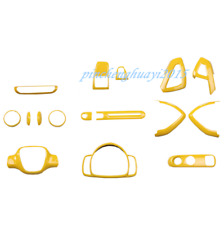 16PCS Yellow Car Interior Kit Cover Trim Fit For Mercedes-Benz SMART 2010-2014