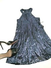 Lulus Sexy Sequin Mini Blue Women's Party Dress Small S Key Hole Sexy Back