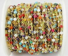 5 Ft Mix Multi Gemstone Faceted Rosary Beaded Chain 24k Gold Plated 2-4mm Bead