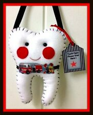 Tooth Fairy Pillow - Fire Truck Handmade- Lost tooth goes in back pocket - SALE