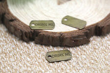 30pcs- Drink Me Charms, bronze tone alice in wonderland pendants 10x18 mm