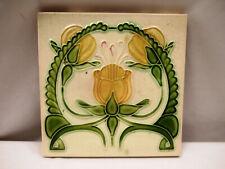 Antique Tile Porcelain Tulip Flower Design Green Leaf Majolica England Rare*505