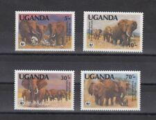 TIMBRE STAMP 4 OUGANDA Y&T#316-19 ELEPHANT ELEFANT NEUF**/MNH-MINT 1983 ~D02